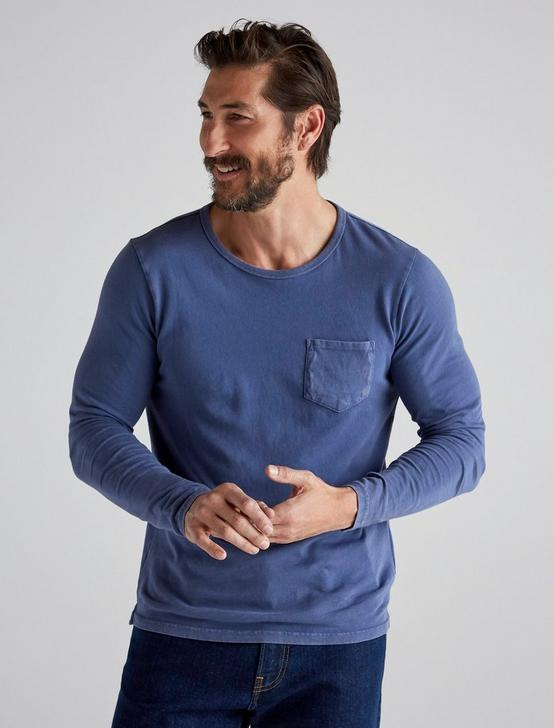 SUNSET CREW NECK LONG SLEEVE TEE, ESTATE BLUE, productTileDesktop