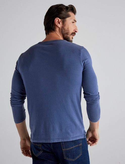 SUNSET CREW NECK LONG SLEEVE TEE, ESTATE BLUE