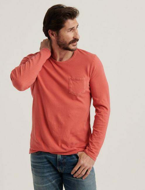 SUNSET CREW NECK LONG SLEEVE TEE, MINERAL RED