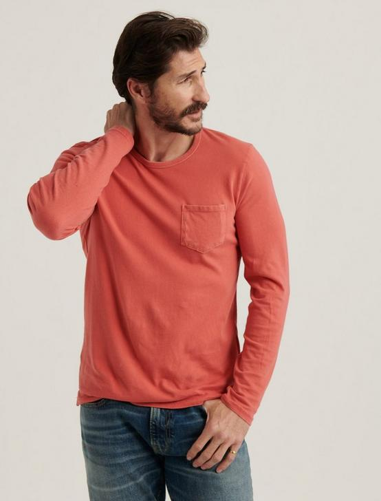 SUNSET CREW NECK LONG SLEEVE TEE, MINERAL RED, productTileDesktop