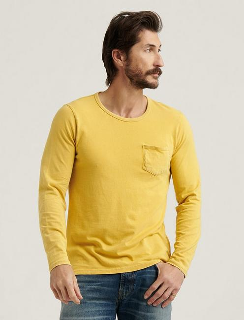 SUNSET CREW NECK LONG SLEEVE TEE, OCHRE