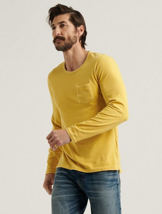 SUNSET CREW NECK LONG SLEEVE TEE, OCHRE, productTileDesktop