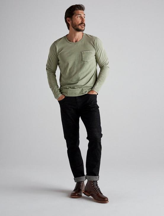 SUNSET CREW NECK LONG SLEEVE TEE, ELM GREEN, productTileDesktop
