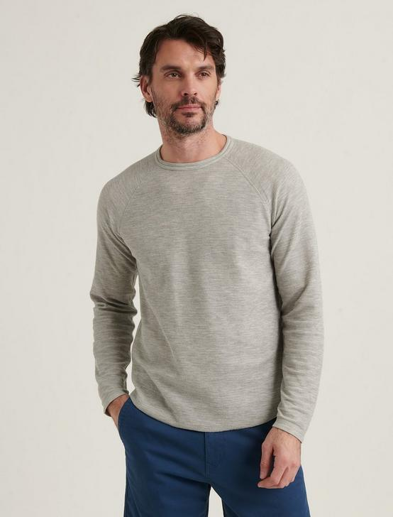 LONG SLEEVE REVERSIBLE CREW NECK TEE, HEATHER GREY, productTileDesktop