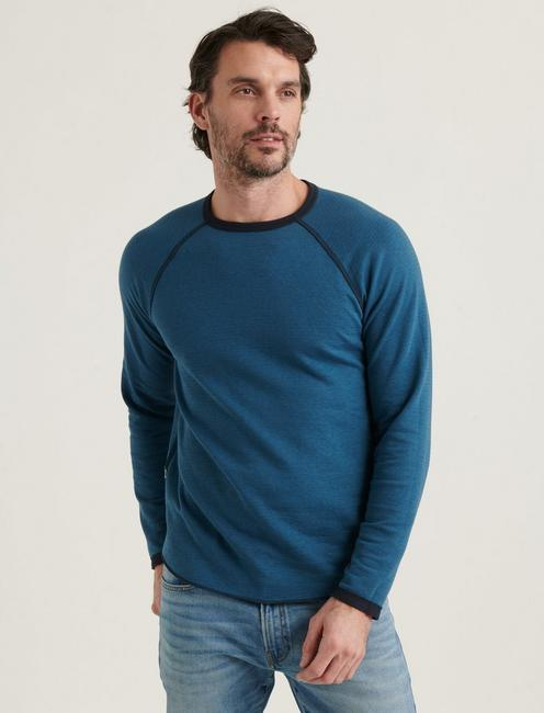 LONG SLEEVE REVERSIBLE CREW NECK TEE, BLUEBERRY