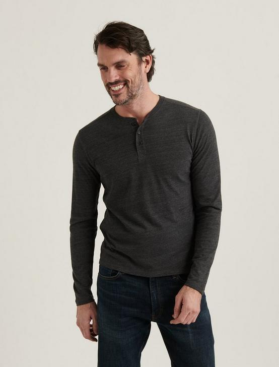 TRIBLEND LONG SLEEVE HENLEY, JET BLACK, productTileDesktop