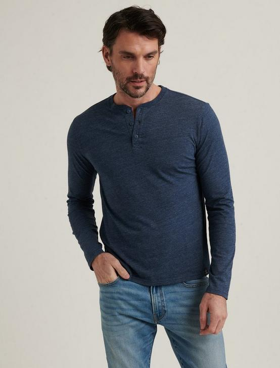 TRIBLEND LONG SLEEVE HENLEY, BLACK IRIS, productTileDesktop