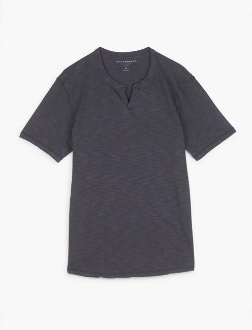 SLUB NOTCH NECK TEE, JET BLACK
