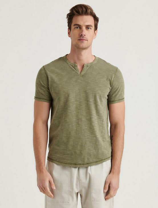 SHORT SLEEVE SLUB NOTCH NECK TEE, BEECH, productTileDesktop