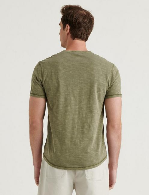 SHORT SLEEVE SLUB NOTCH NECK TEE, BEECH