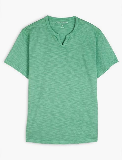 SLUB NOTCH NECK TEE, CREME DE MENTHE