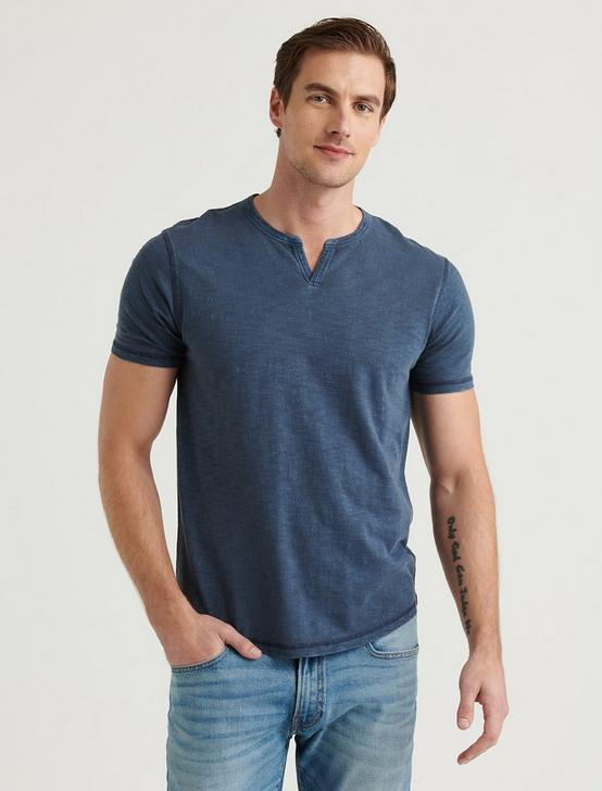 SHORT SLEEVE SLUB NOTCH NECK TEE, BLUEBERRY, productTileDesktop