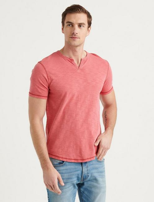 SLUB NOTCH NECK TEE, MINERAL RED