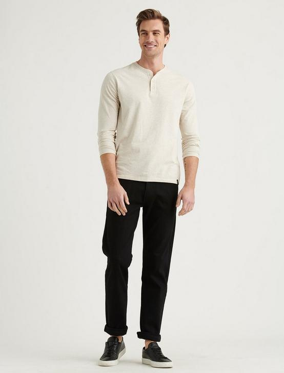 TRIBLEND LONG SLEEVE HENLEY, OATMEAL, productTileDesktop