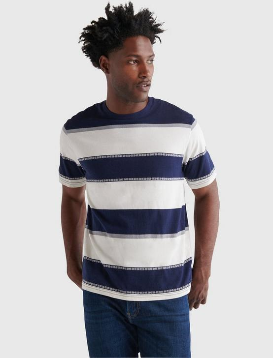 SHORT SLEEVE SUNSET STRIPED CREW NECK TEE, MULTI, productTileDesktop