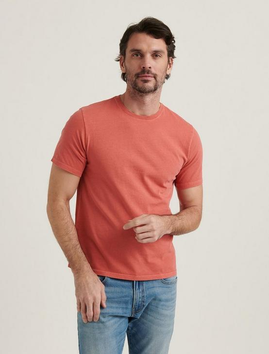SHORT SLEEVE SUNSET CREW NECK TEE, MINERAL RED, productTileDesktop