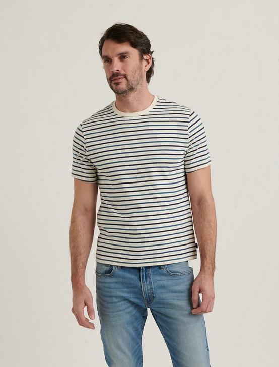 STRIPE SUNSET CREW NECK TEE, NAVY MULTI, productTileDesktop