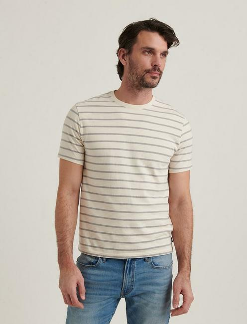 SUNSET STRIPE CREW NECK TEE, GREY MULTI
