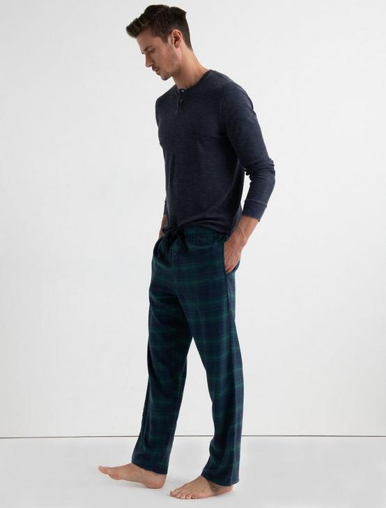 COTTON VISCOSE FLANNEL PANT, DARK BLUE, productTileDesktop