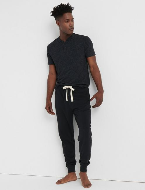 BLACK KNIT MENS LOUNGE PANTS, BLACK