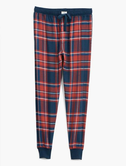 LUCKY BRANDED RED PLAID JOGGER PAJAMA SET, MULTI