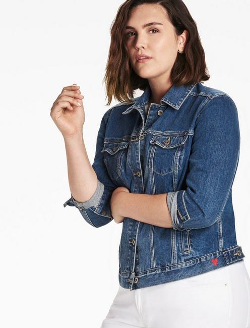 Lucky Plus Size Denim Trucker Jacket In Tanoak