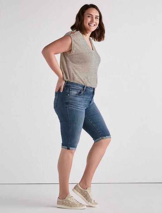 Plus Ginger Bermuda Jean Short, SUNBEAM-P, productTileDesktop