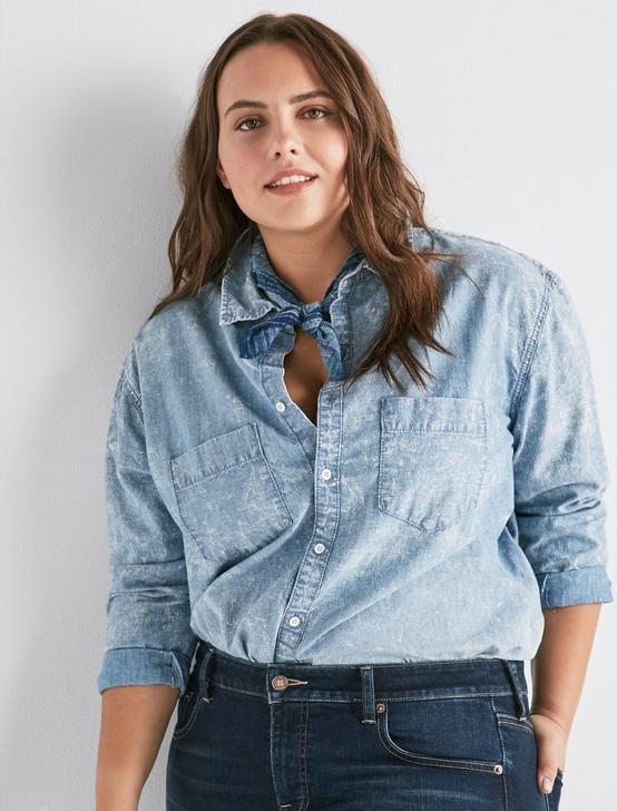 Plus Denim Boyfriend Shirt, MELVIN, productTileDesktop