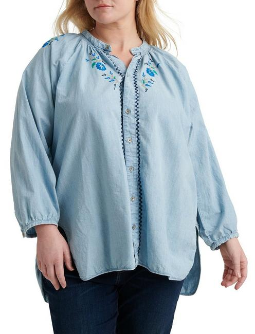PLUS PEASANT SHIRT WITH EMBRODERY, LOS COYOTES