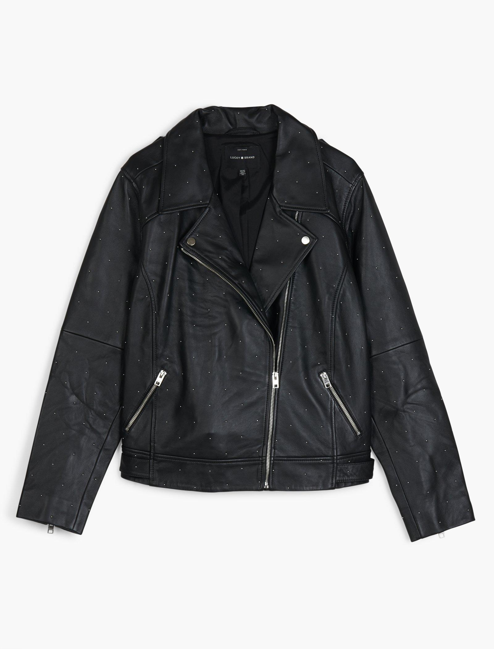 Lucky Brand Trendy Plus Size Studded Leather Moto Jacket