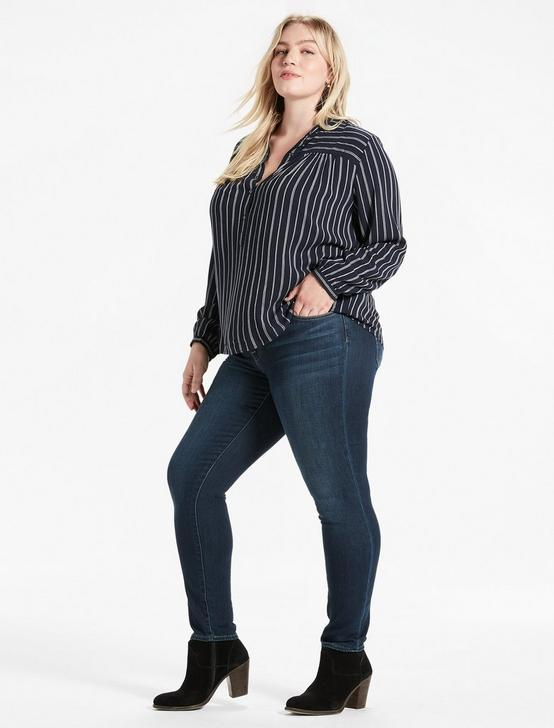 STRIPE POPOVER SHIRT, NAVY MULTI, productTileDesktop