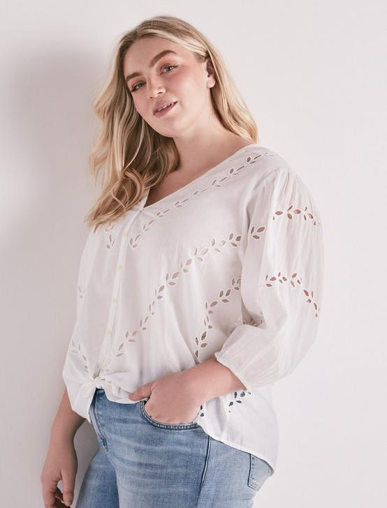 EYELET PEASANT BLOUSE, LUCKY WHITE, productTileDesktop