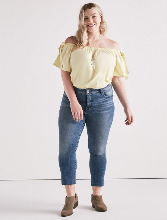 POPLIN OFF SHOULDER TOP, TENDER YELLOW, productTileDesktop