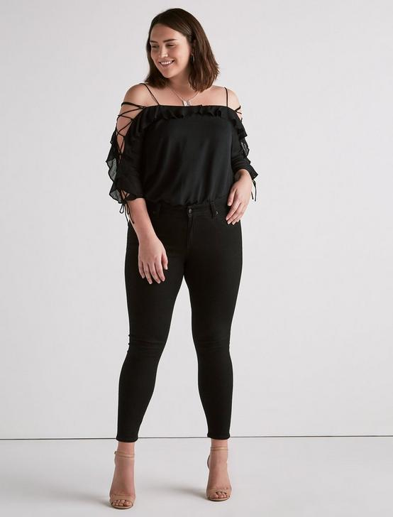 COLD SHOULDER KELLY TOP, 001 LUCKY BLACK, productTileDesktop