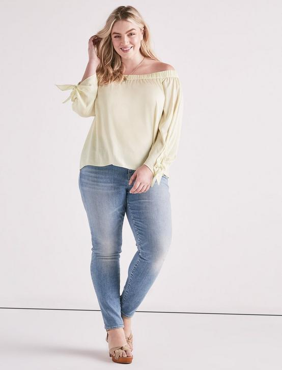 WASHED SATIN OFF SHOULDER, TENDER YELLOW, productTileDesktop