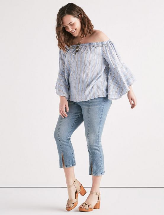 OFF SHOULDER STRIPE TOP, BLUE MULTI, productTileDesktop