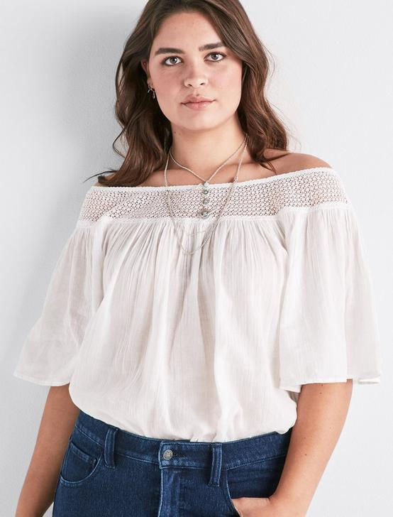 OFF SHOULDER CROCHET TOP, LUCKY WHITE, productTileDesktop