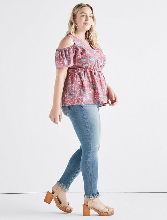 PRINTED COLD SHOULDER TOP, RED MULTI, productTileDesktop