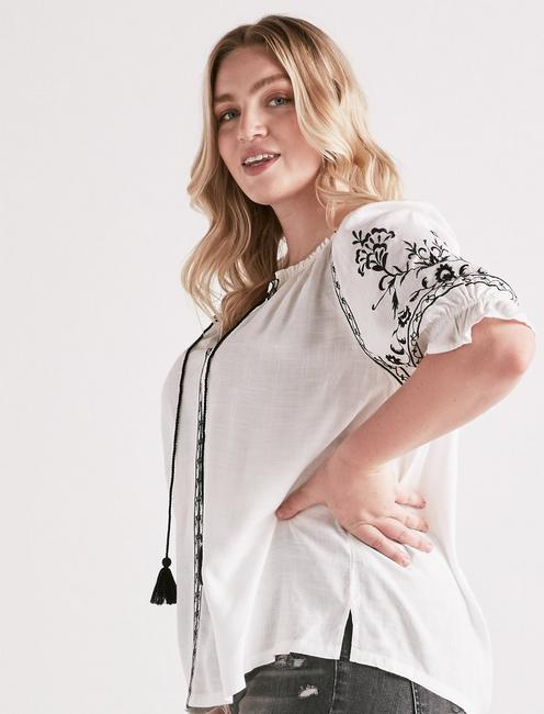 EMBROIDERED PEASANT TOP, WHITE MULTI