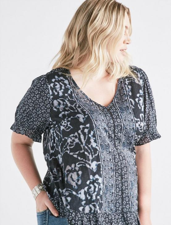 BATIK BORDER PRINTED TOP, BLACK MULTI, productTileDesktop