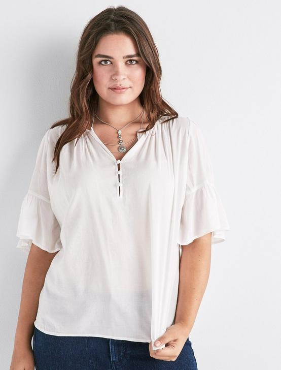 WHITE FLUTTER SLEEVE TOP, LUCKY WHITE, productTileDesktop
