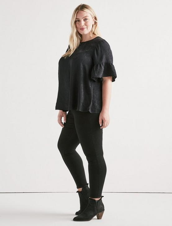 Jacquard Ruffle Sleeve Top