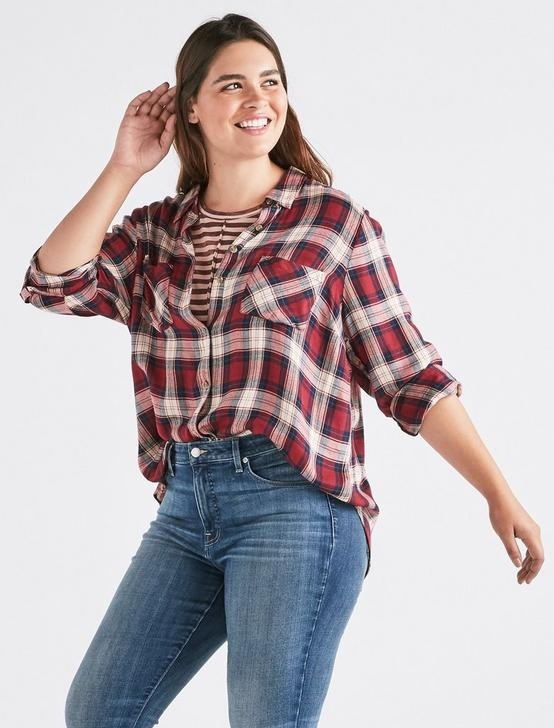 BOYFRIEND PLAID SHIRT, RED MULTI, productTileDesktop