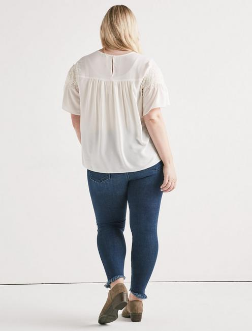 SHORT SLEEVE LACE TOP, MARSHMALLOW