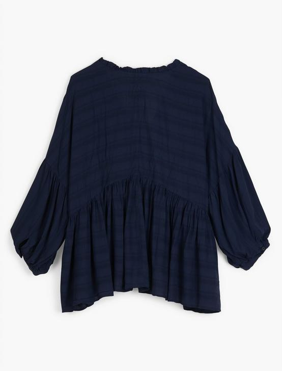 ROMANTIC PEASANT RUFFLE TOP, AMERICAN NAVY, productTileDesktop