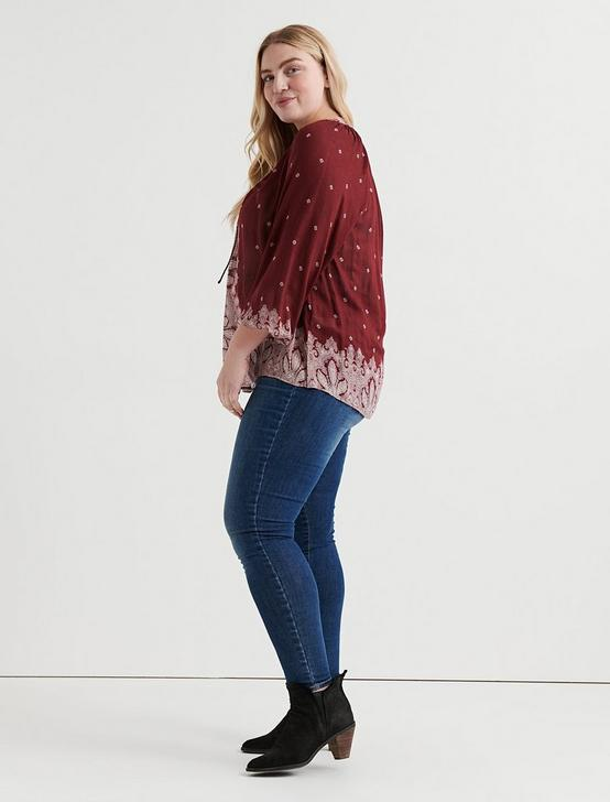 BORDER PRINT PEASANT TOP, BURGUNDY MULTI, productTileDesktop