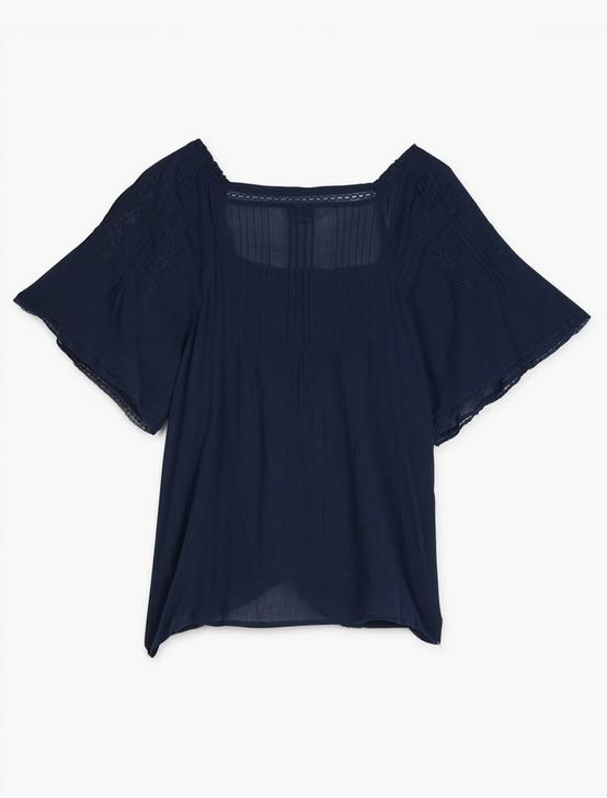 EMBROIDERED FLUTTER SLEEVE TOP, AMERICAN NAVY, productTileDesktop