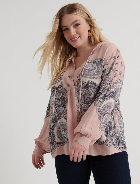 SCARF PAISLEY POPOVER PEASANT, PINK MULTI, productTileDesktop