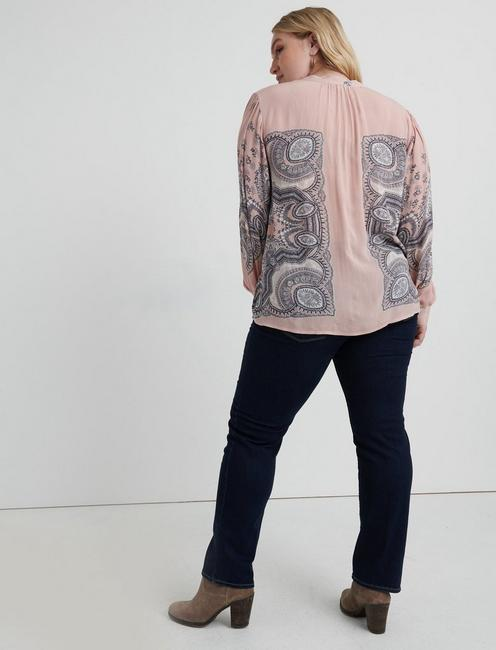 SCARF PAISLEY POPOVER PEASANT, PINK MULTI