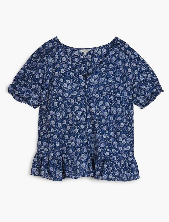 FLORAL PRINTED TOP, BLUE MULTI, productTileDesktop